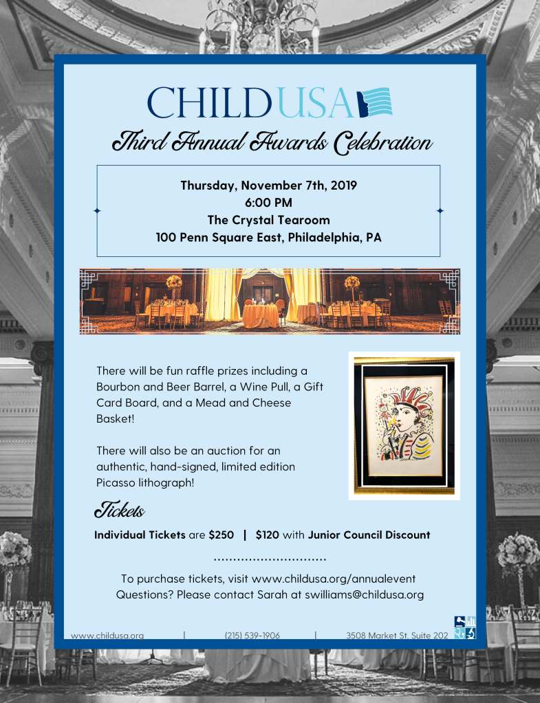 Third Annual Child USA Awards Celebration will be held November 7, 2019 in Philadelphia.